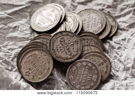Imperial Russian Silver Coins Close-up Macro Shot