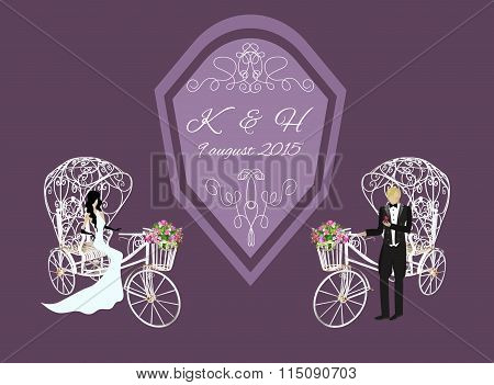 bride and groom on a white tricycle