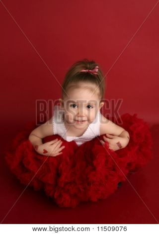 Adorable Little Girl In Red Pettiskirt Tutu