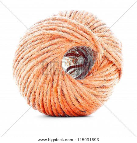 Orange Traditional Clew, Crochet Thread Ball Isolated On White Background