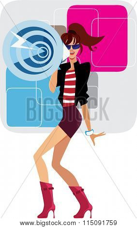 girl with megaphone on colorful background