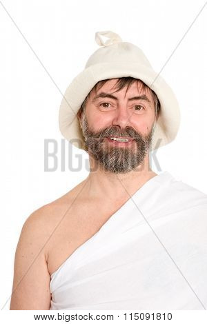 Portrait of middle-aged men dressed in traditional bath. From a series of Russian bath.