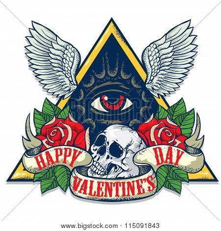 Vector tattoo art on the theme of Valentines Day