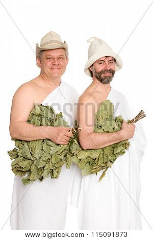 Happy men with oak twigs in bathing costumes. From a series of Russian bath