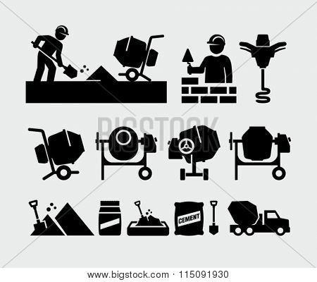 Concrete work vector icons