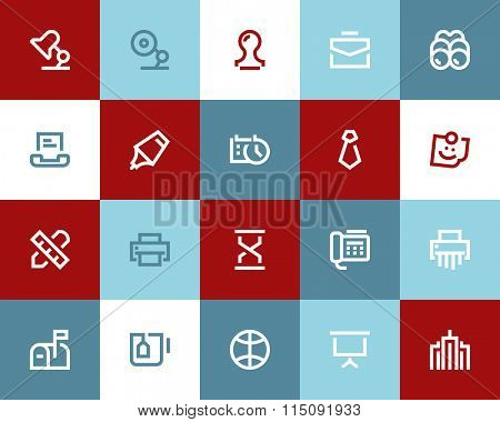 Office and business icons. Flat style