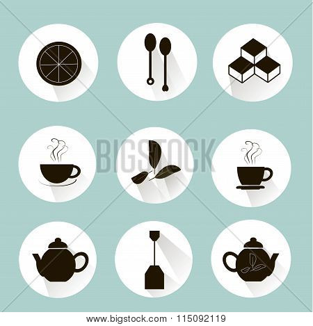 Tea icons black marks on white, pastel blue background. Lemon slices, tea leaves, sugar cubes, a cou