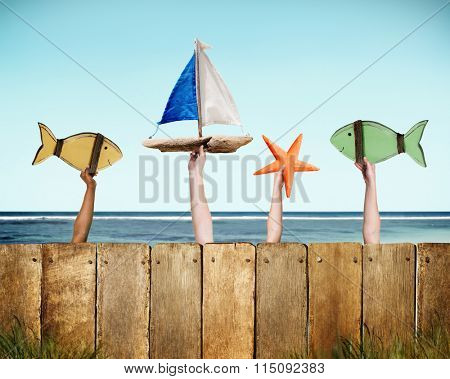 Fish Sailboat Starfish Coconut Buoy Sea Ocean Concept