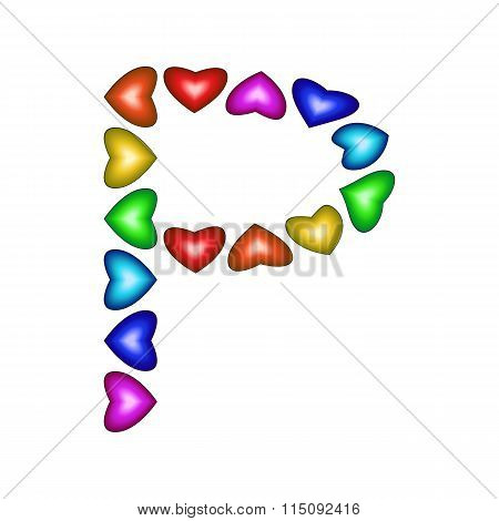 Letter P Made Of Multicolored Hearts