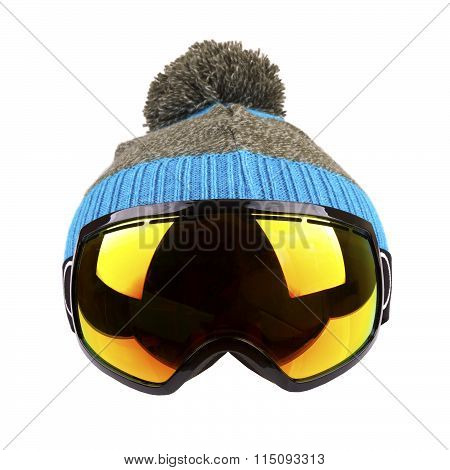 Ski Goggles And Woolen Hat Isolated On White