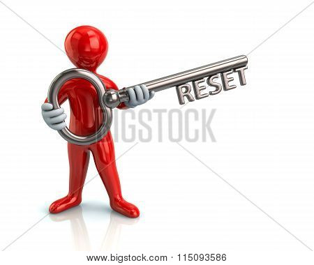 Red Man And Silver Key With Reset