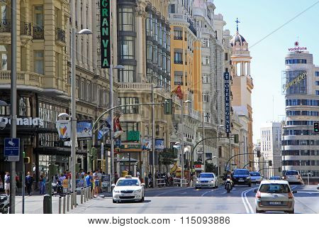 Madrid, Spain - August 23, 2012: View Of The Architecture Of Gran Via Street In Madrid, Spain
