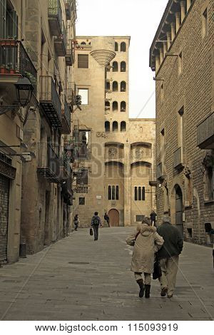 Barcelona, Catalonia, Spain - December 14, 2011: Palau Reial Major (major Real Palace) In Barri Goti