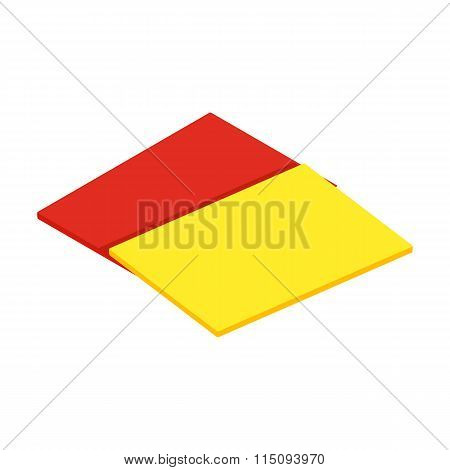 Red and yellow referee cards isometric 3d icon