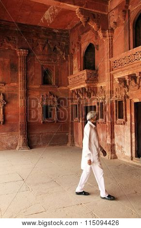 AGRA, INDIA - MARCH 24 2015 - Fatehpur Sikri, India, built by the great Mughal emperor, Akbar beginning in 1570 Iin Agra, India