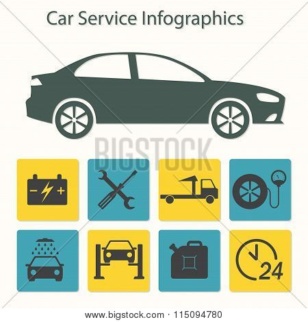 Car service icon set. Auto service and repair icons in flat style.