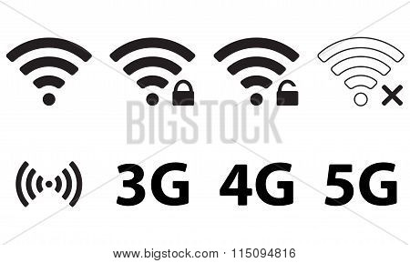 Wireless and wifi icon set for remote internet access. Podcast vector symbol. 3G, 4G and 5G technolo
