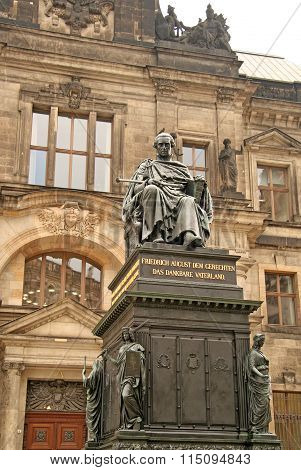 Dresden, Germany - April 27, 2010: Monument To Frederick Augustus I Of Saxony At Dresden Court Of Ap