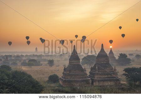 Scenic Sunrise At Bagan Myanmar
