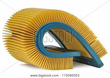 Car Filter Close-up, Auto Spare Part, Isolated On White Background