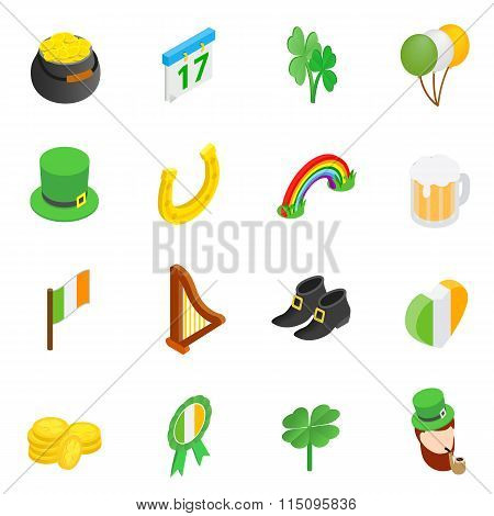 St Patrick Day isometric 3d icons
