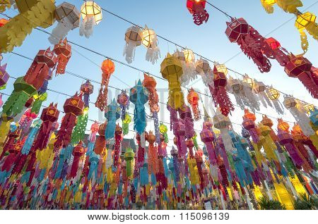 Colorful Paper Lantern Decoration For Loi Krathong Festival.