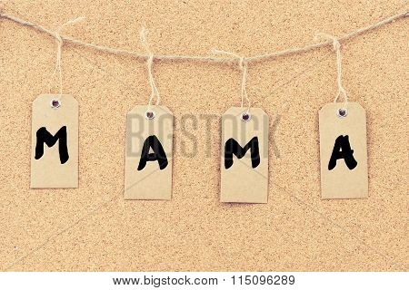 Vintage Grunge Tags With Word Mama