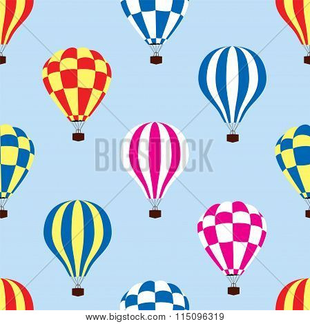 Vector Seamless Pattern Of Hot Air Balloons In The Sky