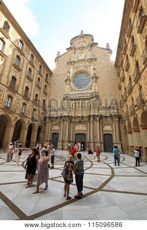 Montserrat, Spain - August 28, 2012: Inner Courtyard Of The Church In Benedictine Abbey Santa Maria