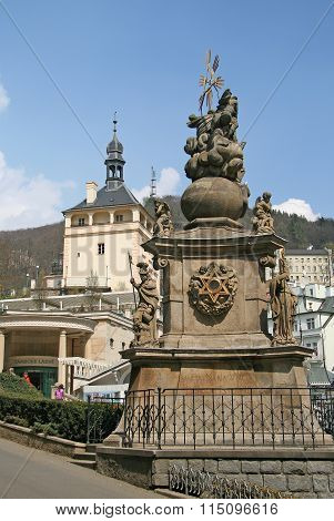 Karlovy Vary, Czech Republic - April 20, 2010: Pillar Of The Holy Trinity (plague Pillar), Karlovy V