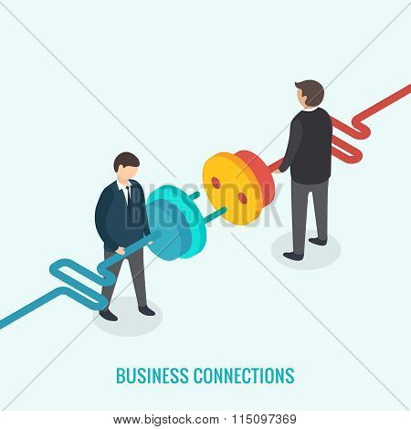 Business connection concept. Isometric 3d vector
