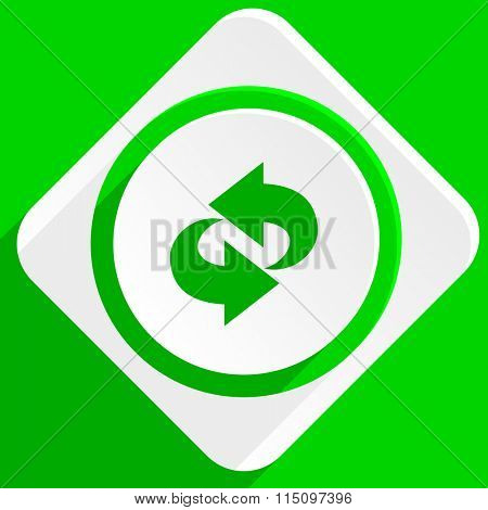 rotation green flat icon