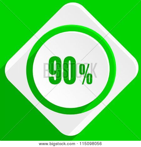 90 percent green flat icon