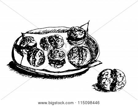 background sketch hand drawn plate of cakes with delicate filling graphic vector illustrati