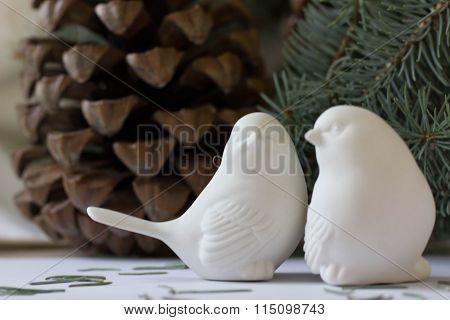 Plastic bird. Sparrow.
