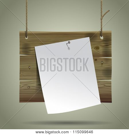 Wooden signboard suspended on a rope with a white paper sheet. Vintage menu concept design. Contain the Clipping Path