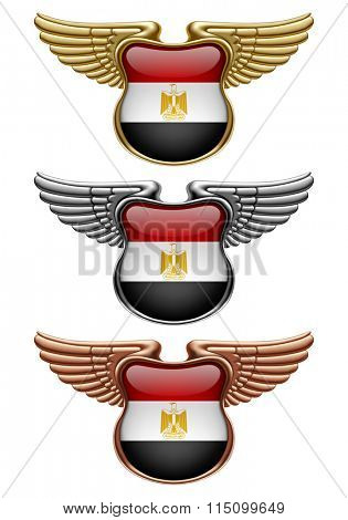 Gold, silver and bronze award signs with wings and Egypt state flag
