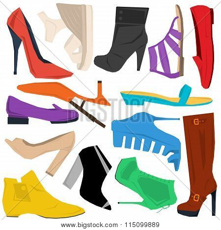 Set of women shoes in flat style
