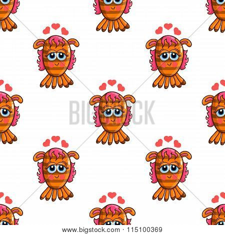 Seamless Pattern With Cute Cartoon Monsters-3
