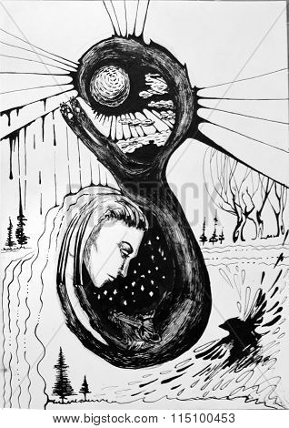 Black and white abstract illustration, woman c the wolf and the sun, near black Raven