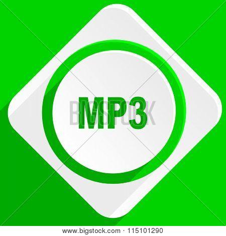 mp3 green flat icon