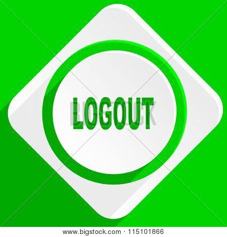 logout green flat icon