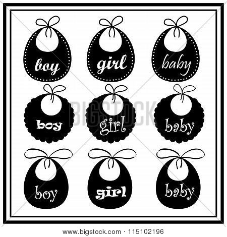 Baby Bib For Girl And Boy In Vector