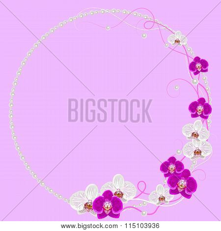 Delicate frame with orchid flowers and pearls on pink background for greeting card or invitation des