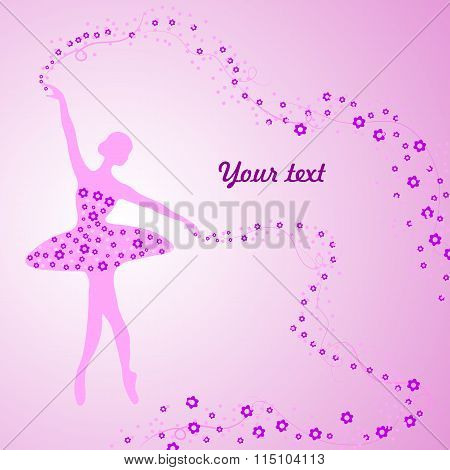 Greeting card with tender ballerina holding a whirl with flowers and ribbons.