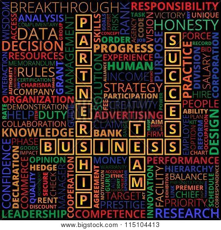 Multicolored Business And Finance Related Words On Black Background