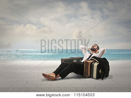 Relaxed man at the seaside