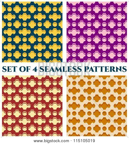 Collection Of 4 Stylish 3D Seamless Patterns With Geometric Ornament Of Violet, Teal, Yellow, Orange