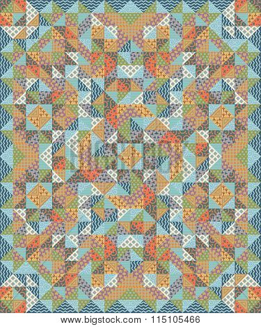 Quilt Patchwork Texture. Colorful Vector Pattern Blanket