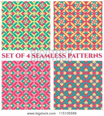Collection Of 4 Fashionable Elegant Decorative Seamless Patterns With Geometric Ornament Of Red, Azu